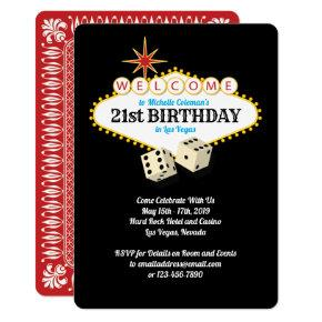 Las Vegas Marquee Birthday Party Card