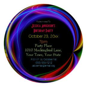Laser Neon Lights Birthday Invitation