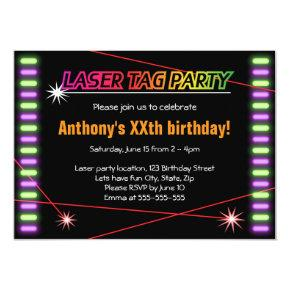 Laser tag birthday party cool black invitation