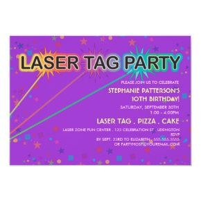 Laser Tag Birthday Party Invitation | Girl