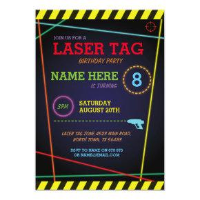 Laser Tag Birthday Party Invitation Quest