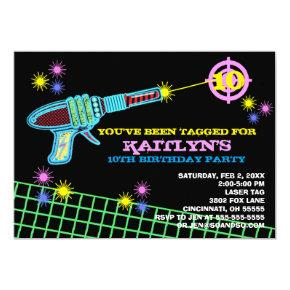 Laser Tag Custom Birthday Party Invitation Girl
