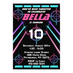 Laser Tag Girls Neon Pink, Blue Beams Birthday Invitation