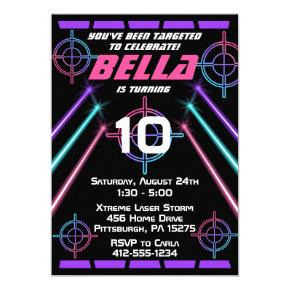 Laser Tag Girls Neon Pink Purple Beams Birthday Invitation