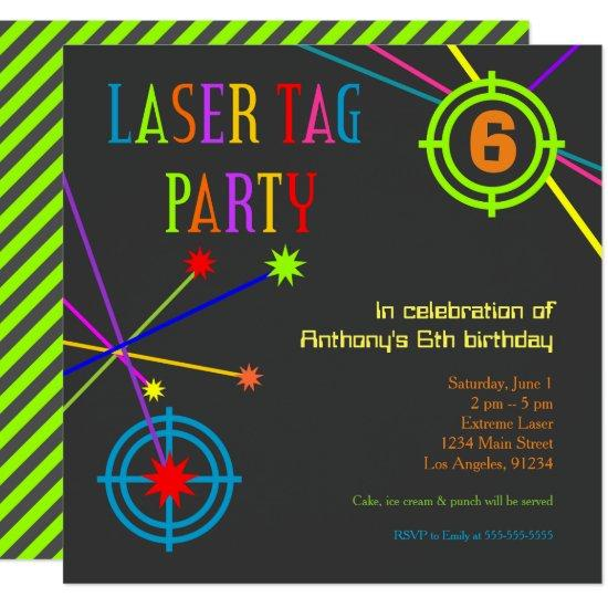Laser Tag Party Birthday Invitation – Candied Clouds
