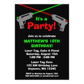 Laser Tag Red Green Birthday Party Invitations