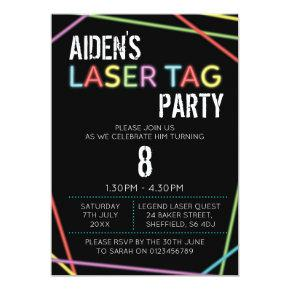Laser Tag themed birthday party invitation