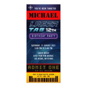 Laser Tag Ticket Pass Birthday Party Invitation