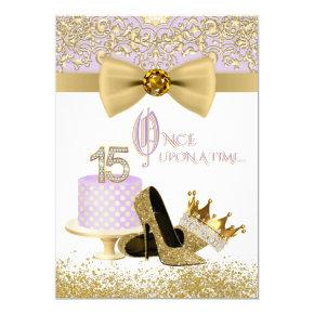 Lavender and Gold Quinceanera Birthday Party Invitation