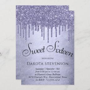 Lavender Drip Sweet 16 Party | Purple Chic Script Invitation