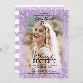 Lavender Glitter Photo Template Sweet 16 Party