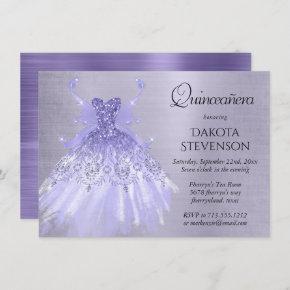 Lavender Iridescent Purple Pixie Gown Quinceanera Invitation
