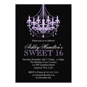 Lavender Purple Faux Glitter Chandelier Sweet 16 Invitation