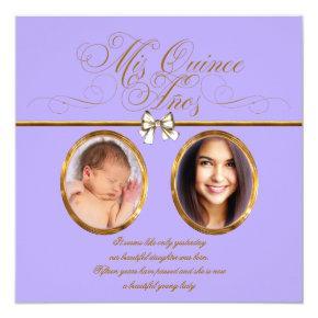 Lavender Purple Gold Photo Quinceanera Invitations