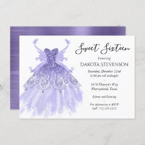 Lavender Purple Pixie Wing Gown | Sweet 16 Party Invitation