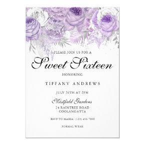 Elegant Sweet 16 Lavender Purple Birthday Invitations Candied Clouds