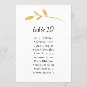 Leaves olive. Classy Table Number with Seating