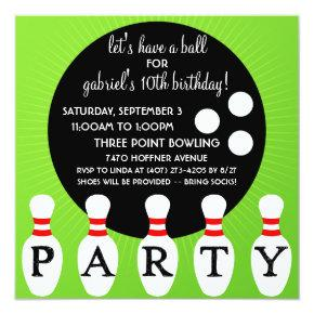 'Lectric Lime Pin Party Bowling Birthday Party Invitation