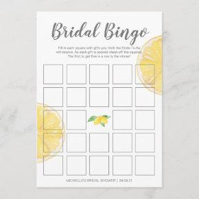 Lemon Double-Sided Bridal Bingo Shower Game Menu
