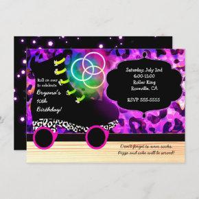 Leopard Print Glow Skate Roller Skating Invitation