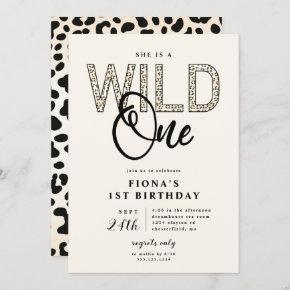 Leopard Print Wild One Birthday Invitation