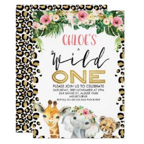 Leopard Skin Floral Wild One Birthday Invitation