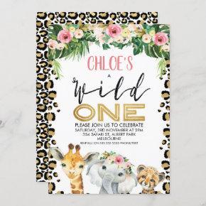 Leopard Skin Floral Wild One Birthday Invitation