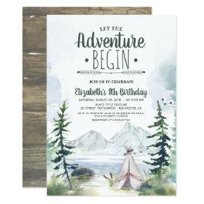 Let The Adventure Begin Mountains Camping Birthday Invitation