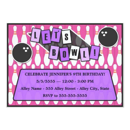 let s bowl bowling party birthday invitations pink candied clouds