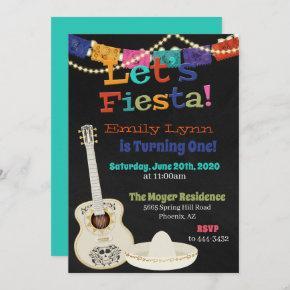 Let's Fiesta Guitar Birthday Invitation
