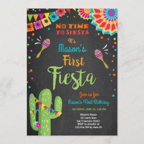 Let's Fiesta Mexican Birthday Cactus Boy Invitation
