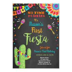 Let's Fiesta Mexican Birthday Cactus Boy Invitation