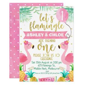 Let's Flamingle 1st Birthday Invitation For Twins