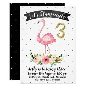 Let's flamingle 3rd Birthday Invitation For Girl