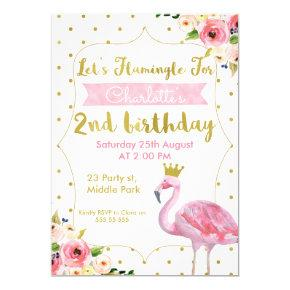 Let's Flamingle Floral 2nd Birthday Invitations