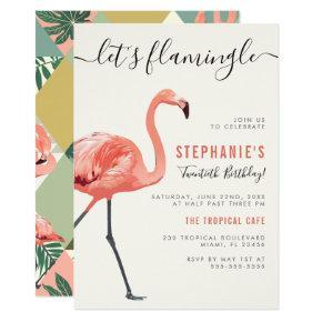 Let's Flamingle   Modern Flamingo Birthday Party Invitation