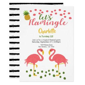 Lets Flamingle Tropical Pink Flamingo Birthday Invitation