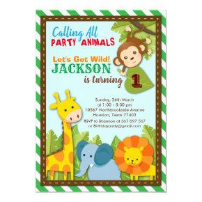 Let's get Wild Safari Adventure Birthday Invitation