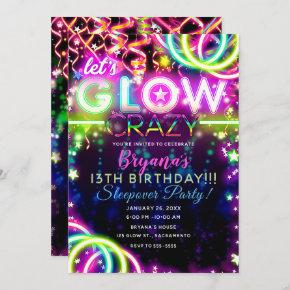 Let's GLOW Crazy Neon Colorful Birthday Party Invitation
