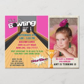 Let's Go Bowling Pink Girls Birthday Photo Invite