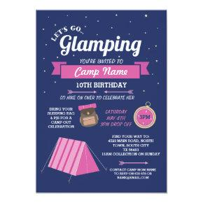 Let's Go Glamping Camp Navy Pink Invitations