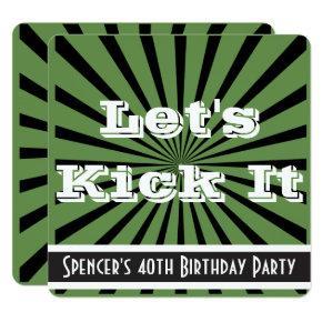"""Let's Kick It"" Birthday Invitation Green & Black"