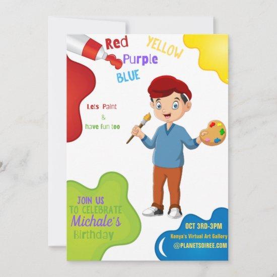 Lets Paint Birthday Invitation  (Boy)