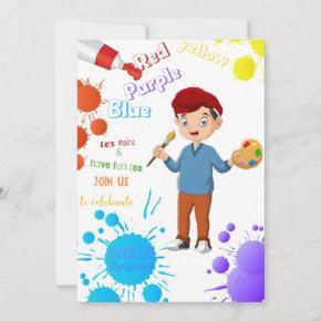 Lets Paint Different Birthday Invitation (Boy)