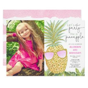 Let's Party like a pineapple girl birthday photo Invitation