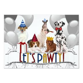 Let's PAWty Dogs in Grayscale Party Invitation