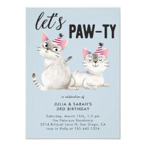 Lets Pawty Twins Joint Cat Theme Birthday Party Invitation