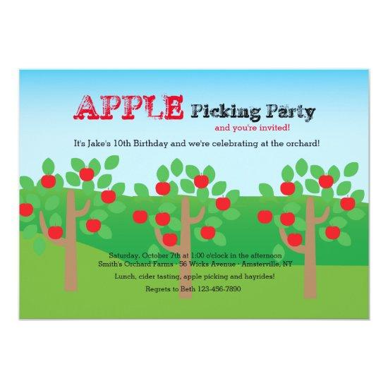 Lets Pick Apples Invitations