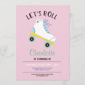 Let's Roll Roller Skate Girls Pink Party Invite