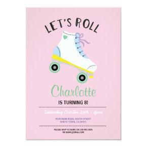 Let's Roll Roller Skate Girls Pink Party Invite
